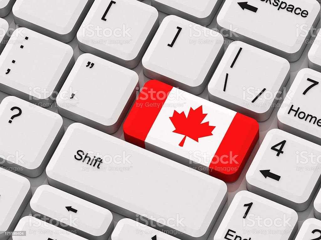 Keyboard with Canada Flag stock photo