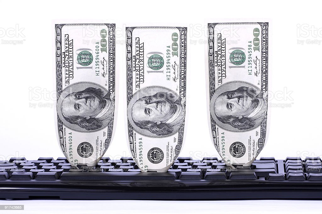 Keyboard with Dollars royalty-free stock photo