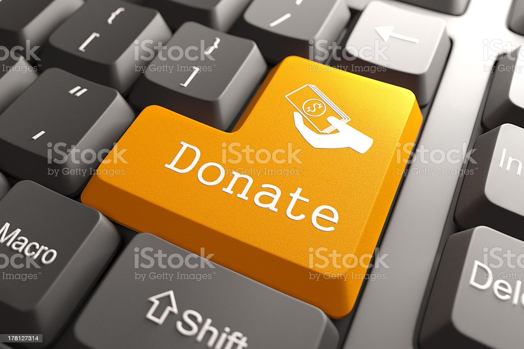Keyboard with Donate Button. stock photo