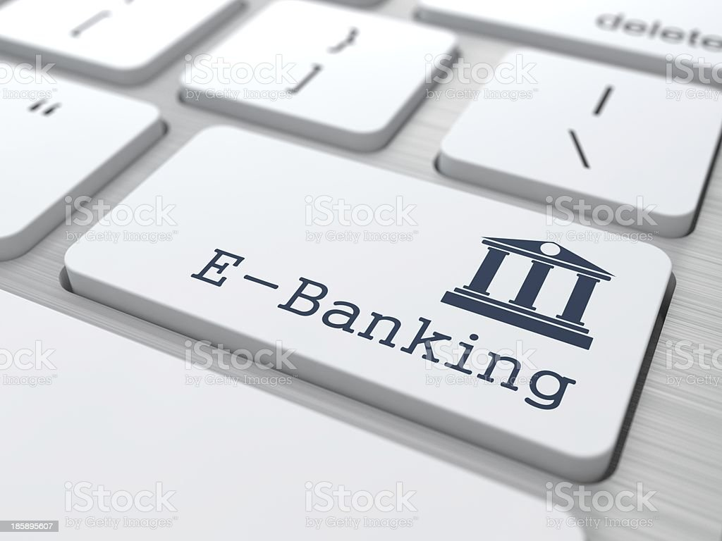 Keyboard with E-Banking Button. stock photo