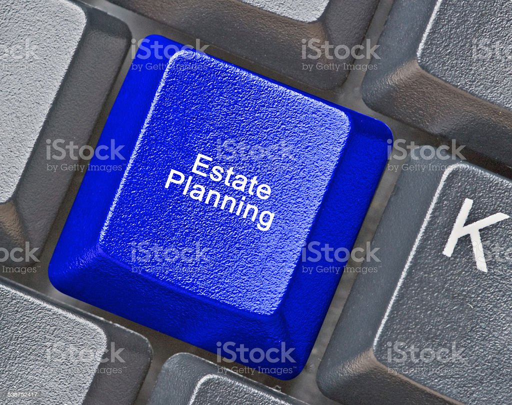Keyboard with hot key for estate planning stock photo