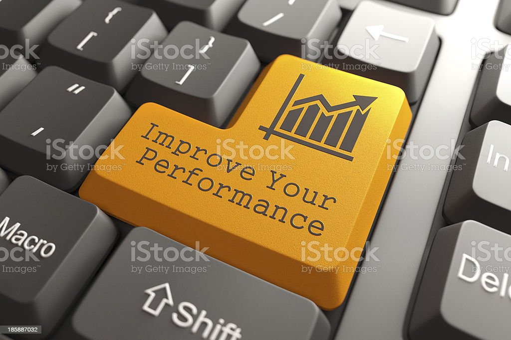 Keyboard with Improve Your Performance Button. stock photo