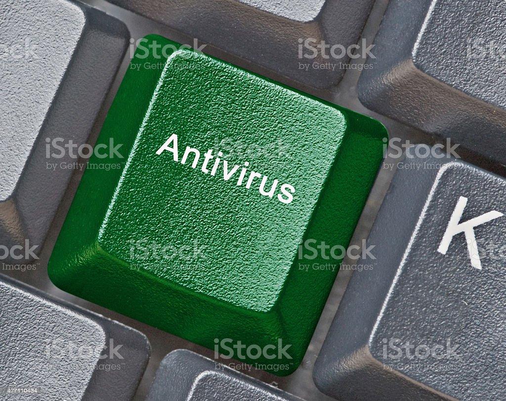 Keyboard with key for antivirus stock photo
