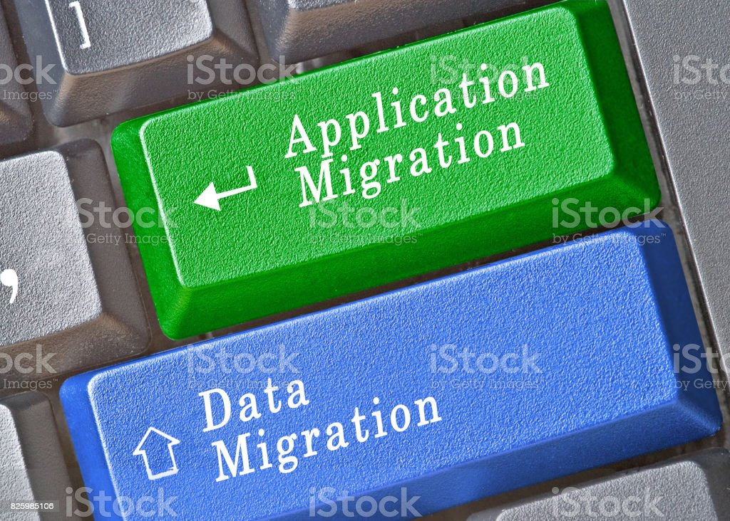 Keyboard with keys for data and application migration stock photo
