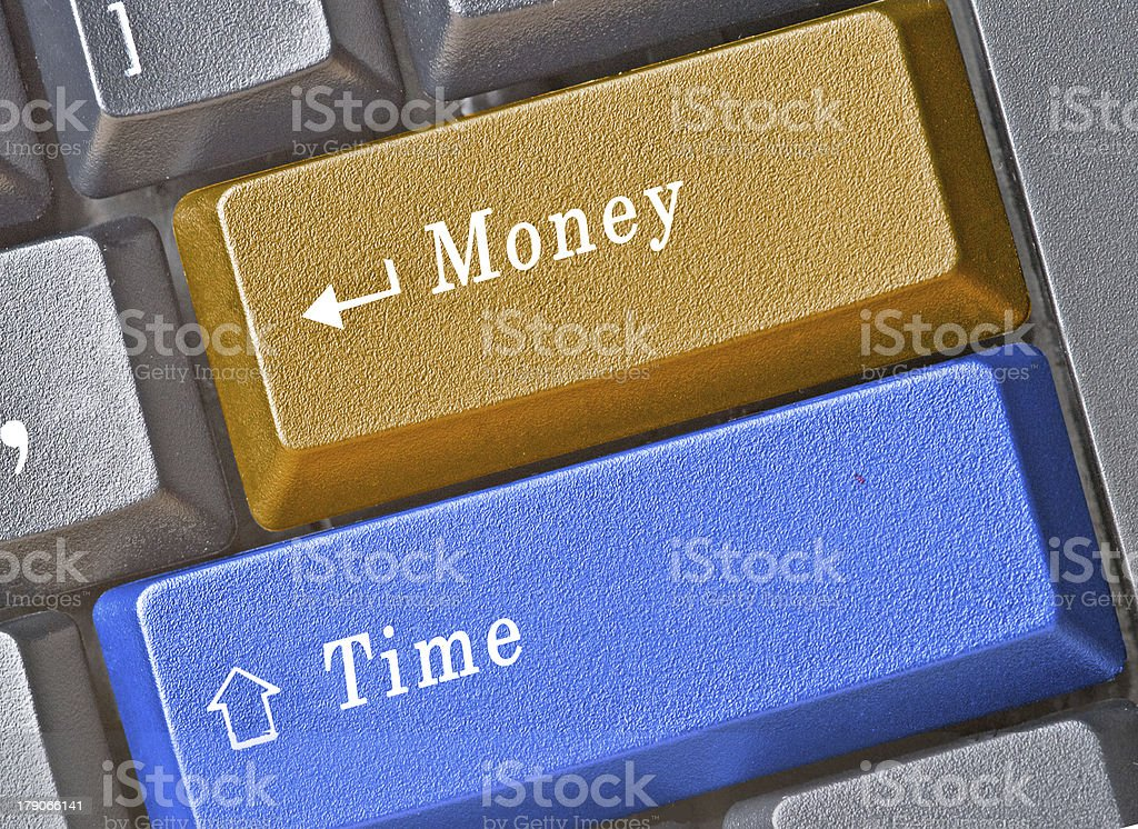Keyboard with money and time keys royalty-free stock photo