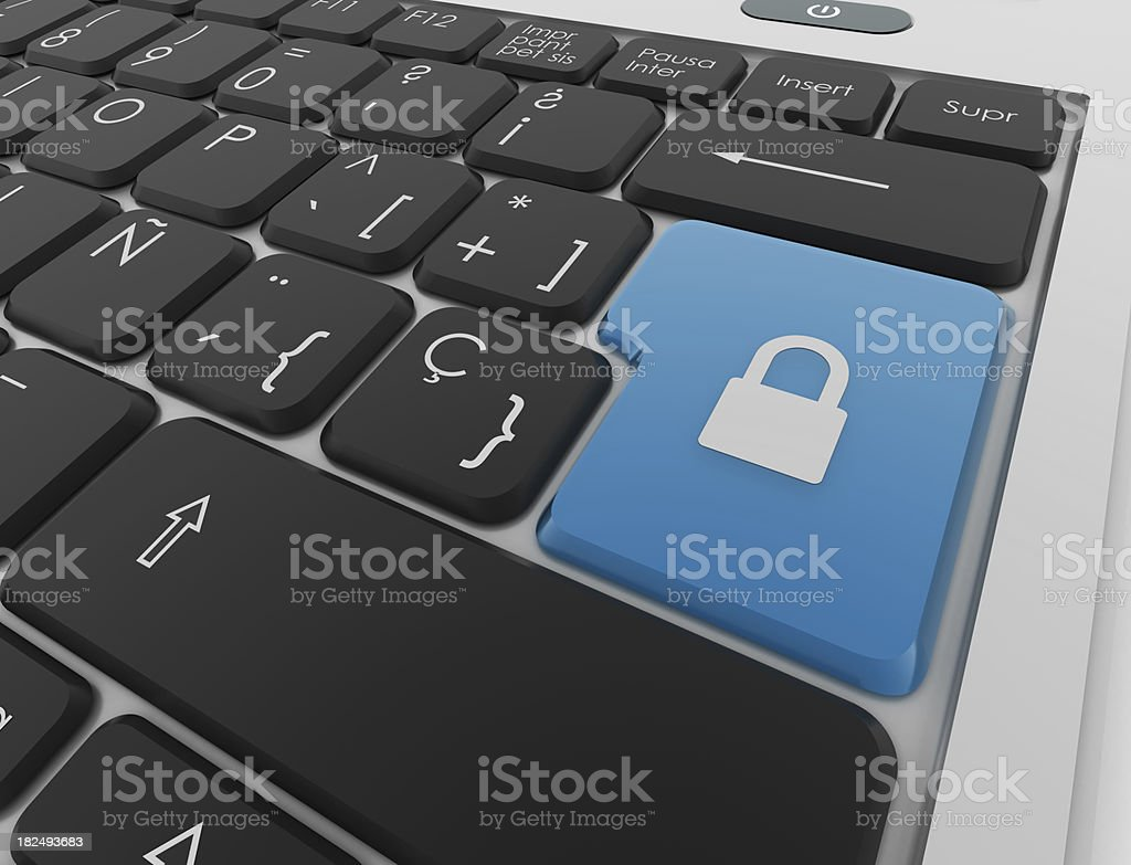 Keyboard with padlock royalty-free stock photo