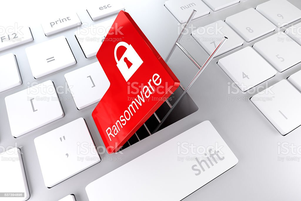 keyboard with red enter key ransomware 3D illustration stock photo