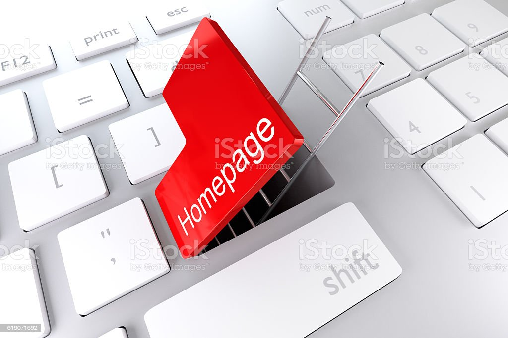keyboard with red enter key underpass ladder homepage 3D Illustr stock photo