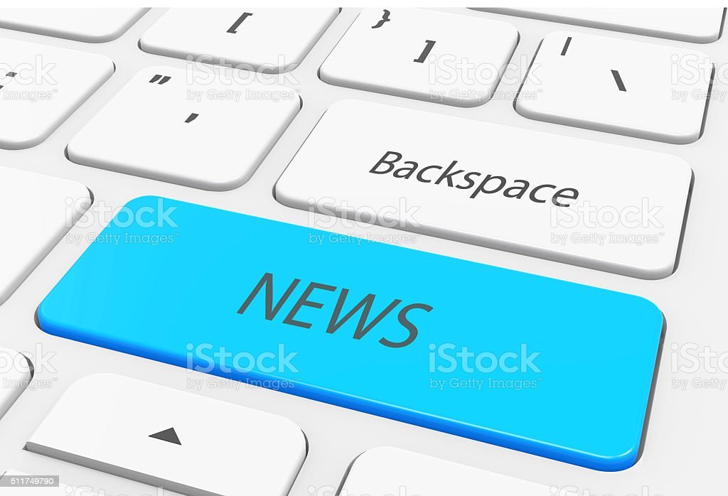 Keyboard with single blue button showing the word news stock photo