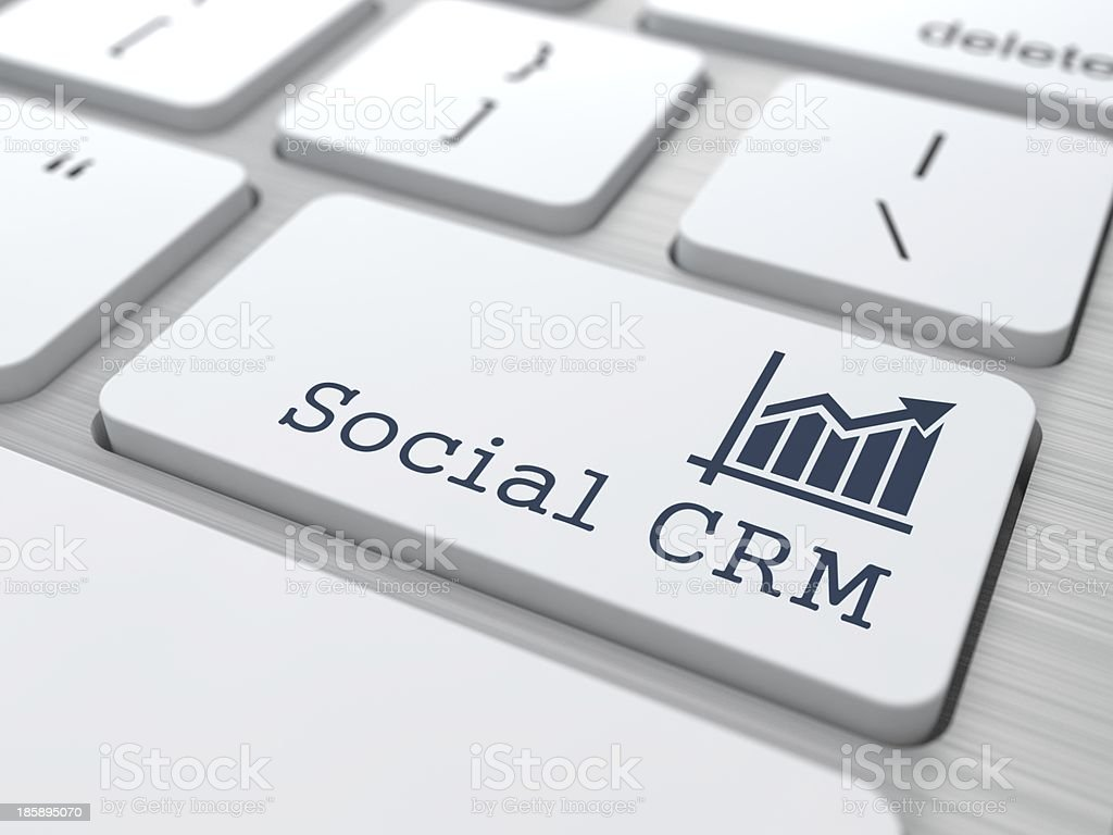 Keyboard with Social CRM Button. stock photo