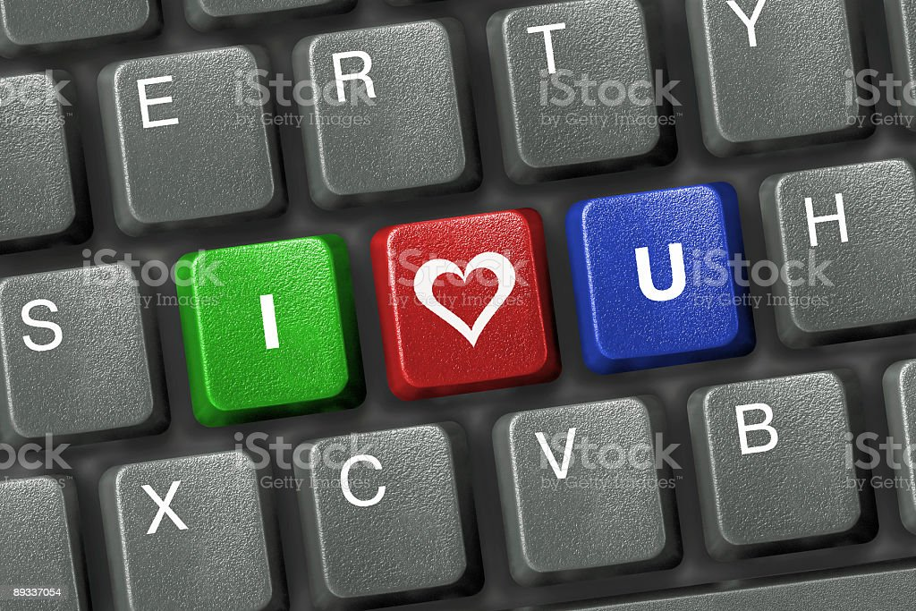 PC keyboard with three love keys royalty-free stock photo