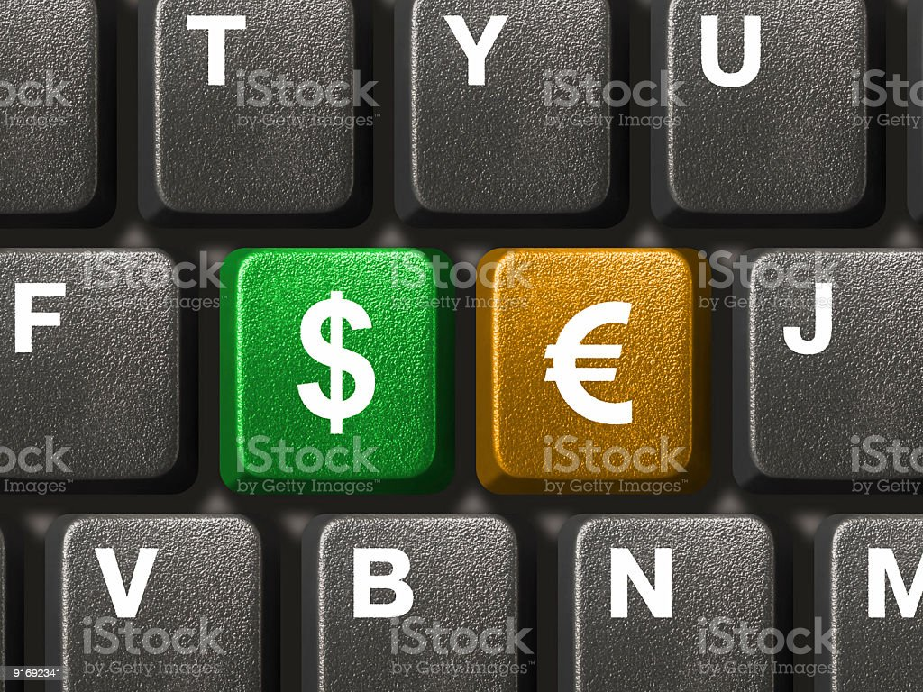 PC keyboard with two money keys royalty-free stock photo