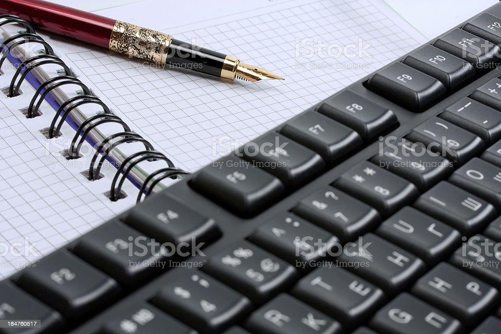 keyboard,note pad royalty-free stock photo