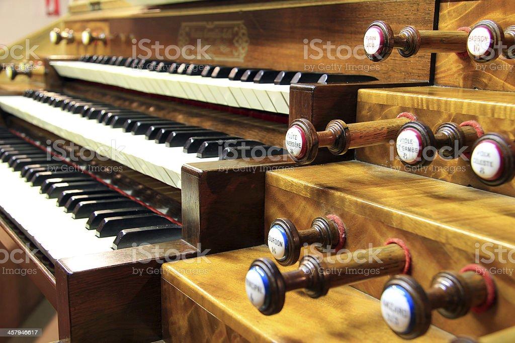 Keyboards of organ stock photo