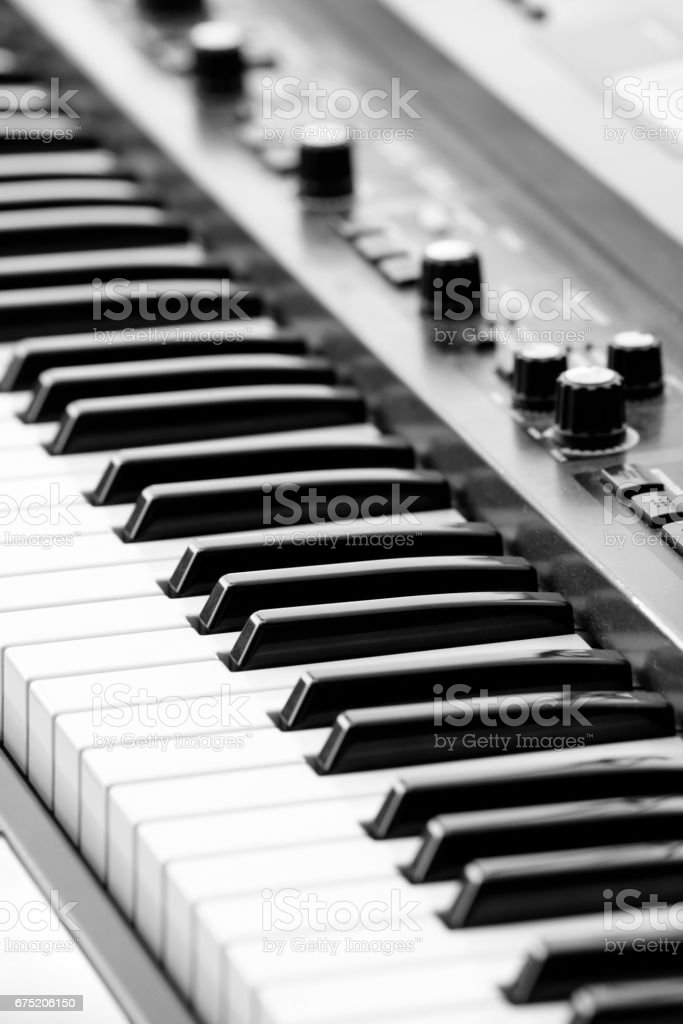 keyboards on an electric piano stock photo