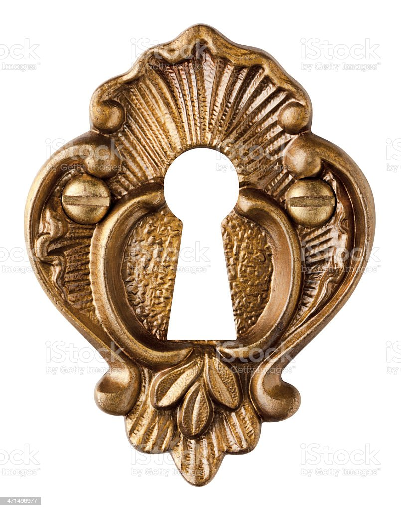 Keyhole - Fancy Brass Escutcheon Isolated on White. stock photo