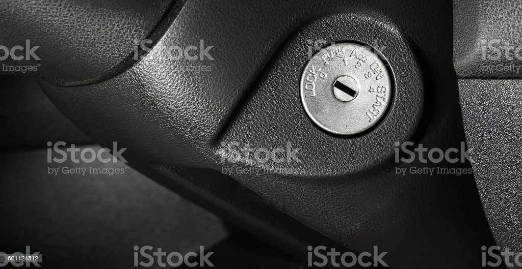 Keyhole in car. stock photo