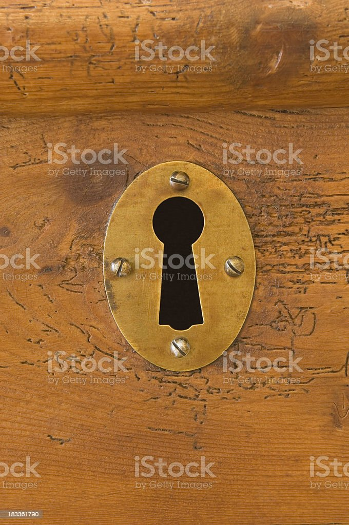 Keyhole in wooden chest royalty-free stock photo