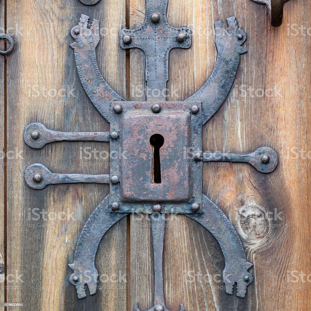Keyhole of old doorlock stock photo