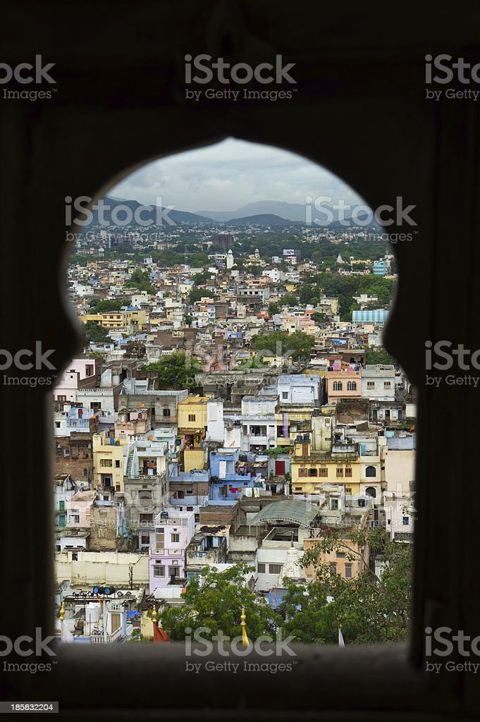 keyhole window view of Indian city royalty-free stock photo