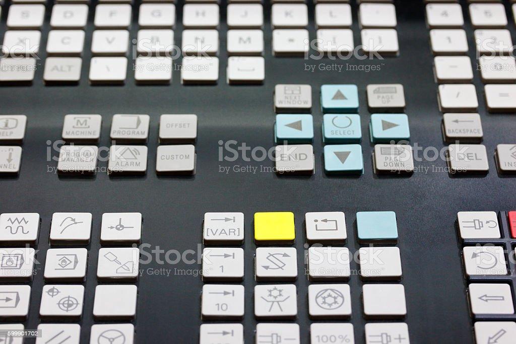 keypad of CNC control panel stock photo