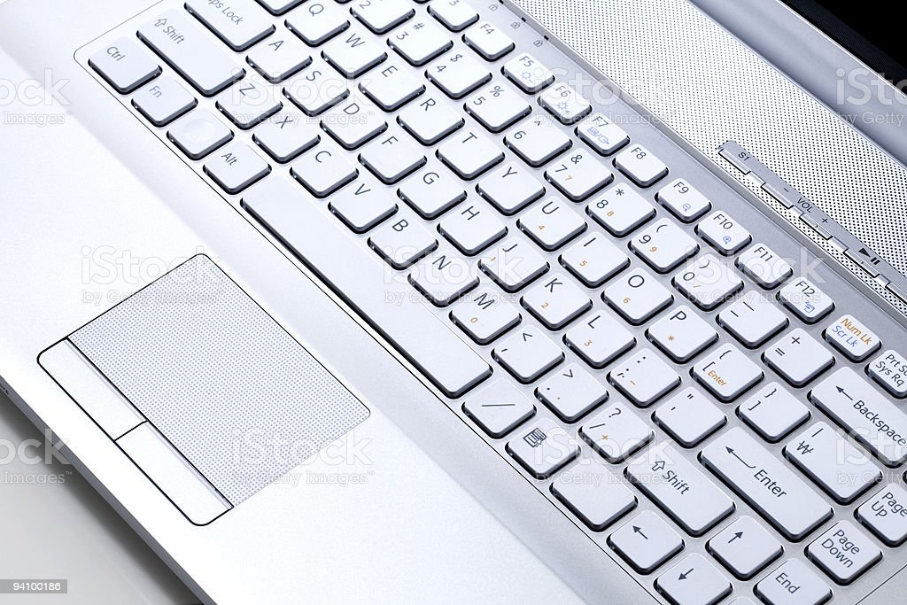 Keypad of Silver metallic notebook computer royalty-free stock photo