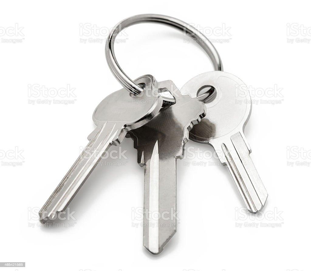 Keyring Keys Isolated on White Background stock photo