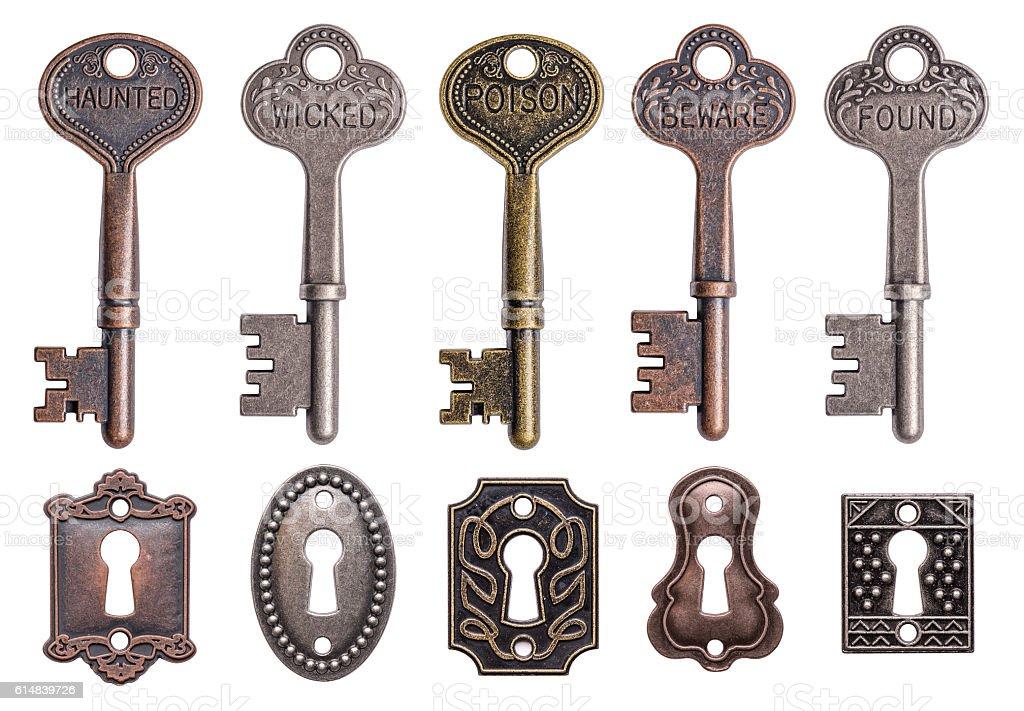 keys and keyholes stock photo