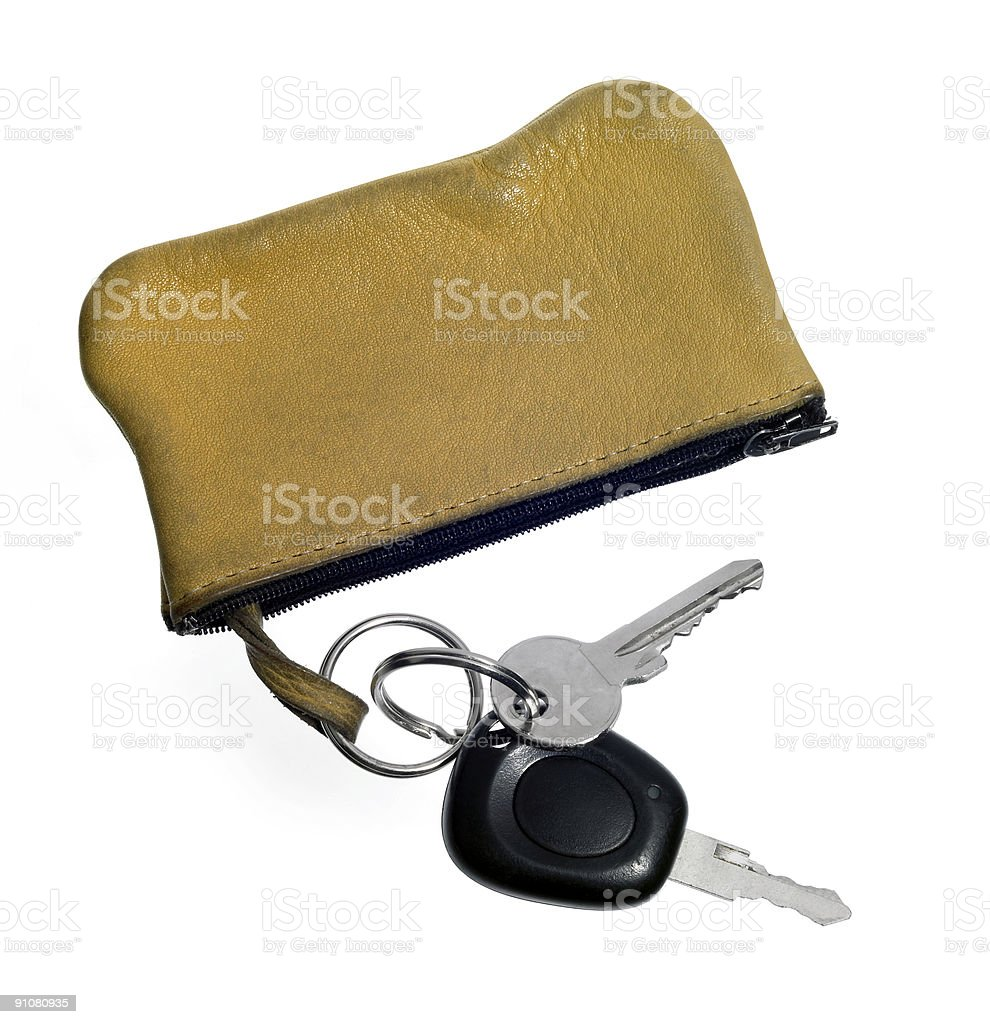 keys and leather case stock photo
