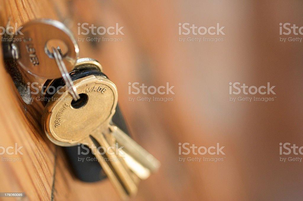 Keys In Door stock photo