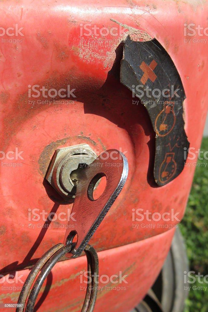 Keys in ignition lock stock photo