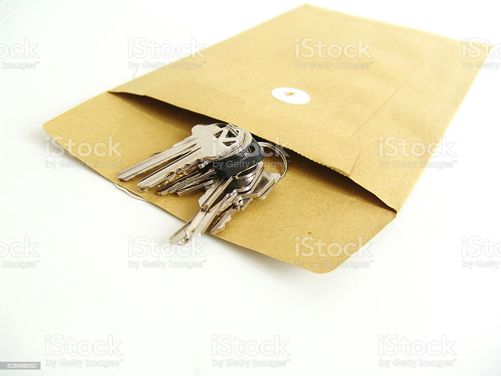 Keys Inside Brown envelope stock photo