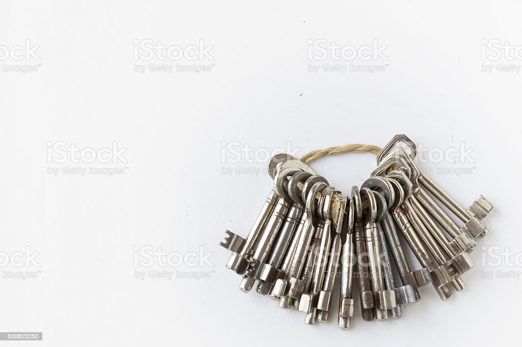 keys / keyring on white background with copy space stock photo