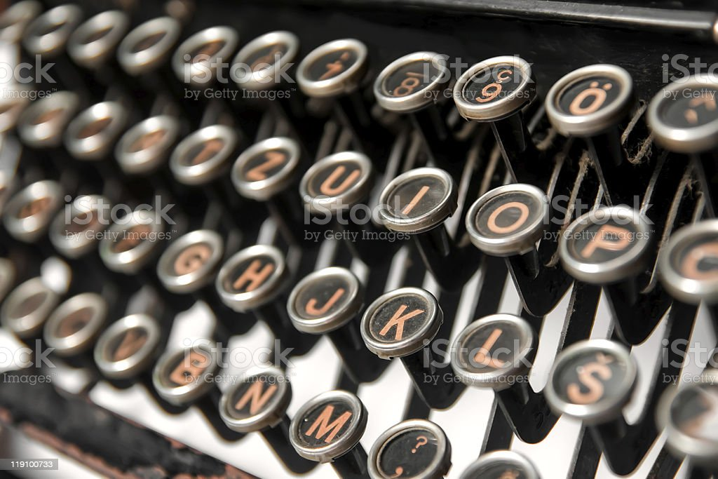 Keys of an old rusty typewriter royalty-free stock photo