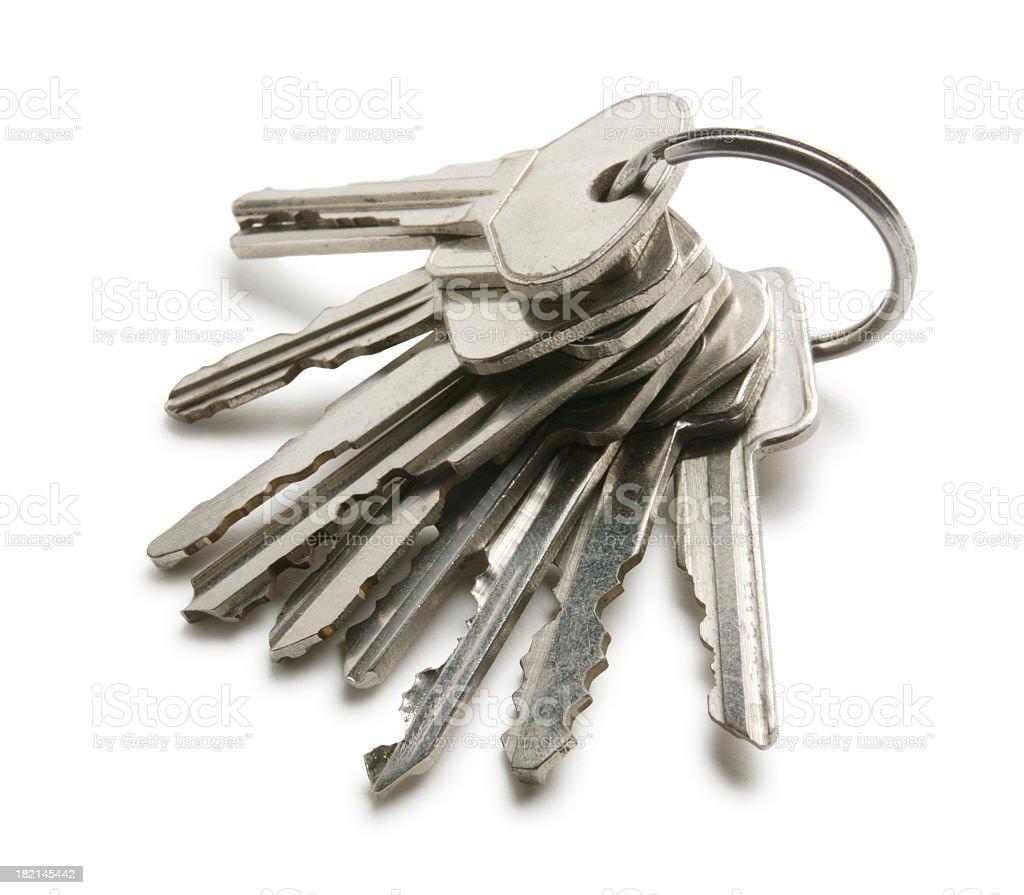 Keys on a key ring on white background stock photo