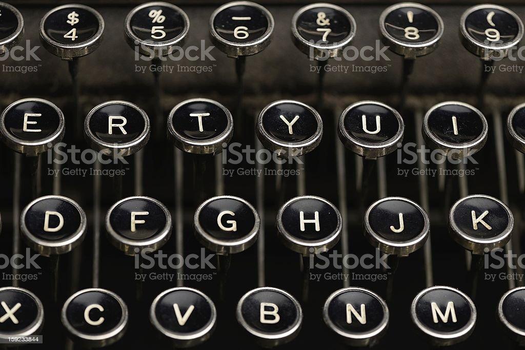 Keys on an antique typewriter stock photo