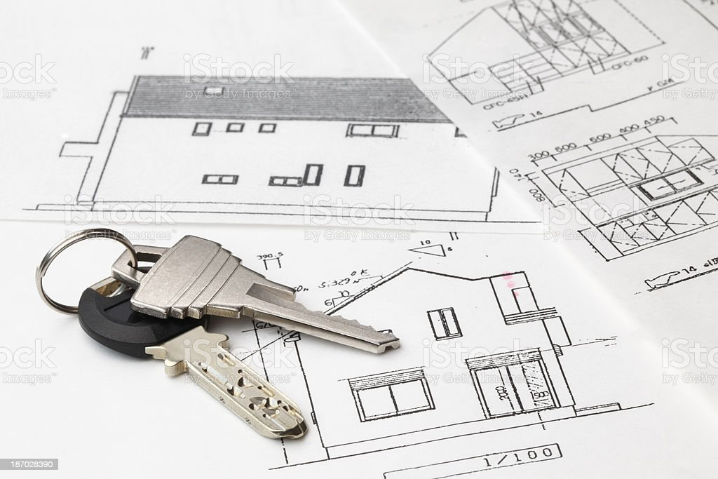 keys on an architecture-plan royalty-free stock photo