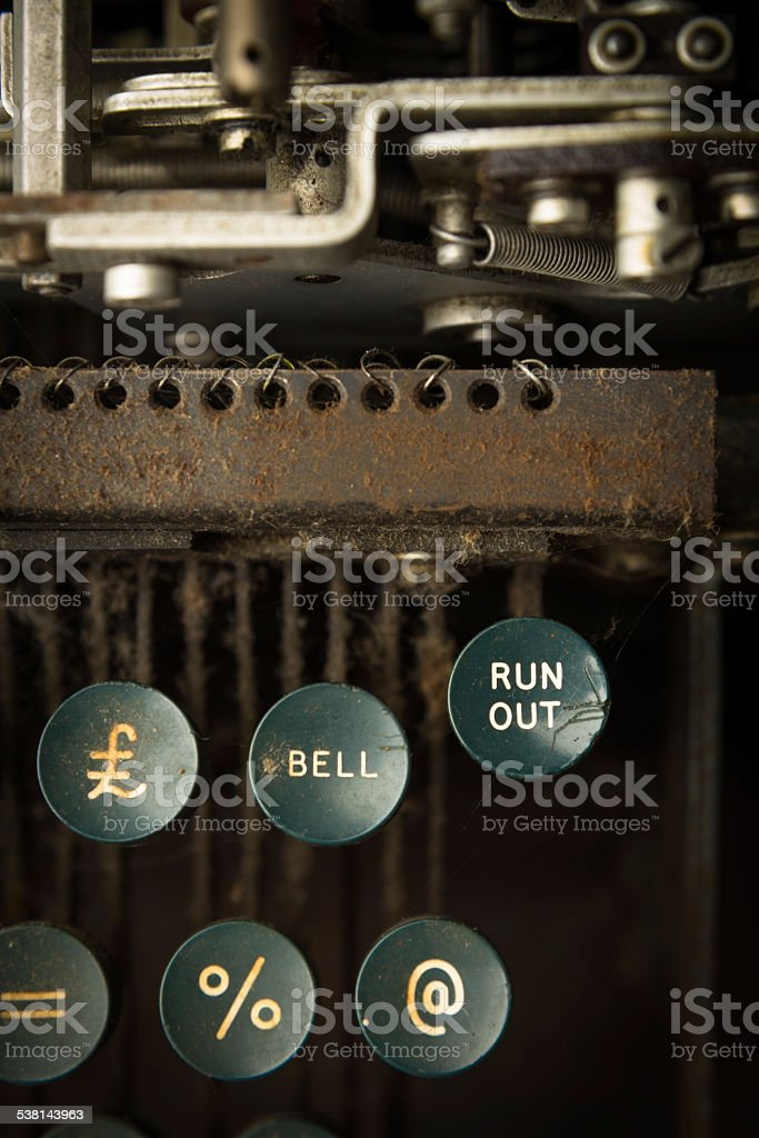 Keys on Antique Teletype Machine stock photo