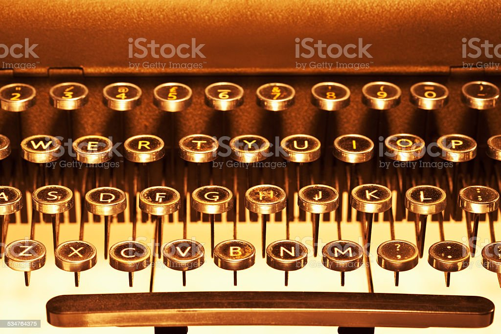 Keys On Old Typewriter stock photo