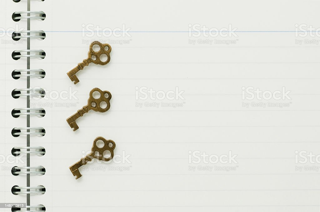 Keys on the notebook royalty-free stock photo