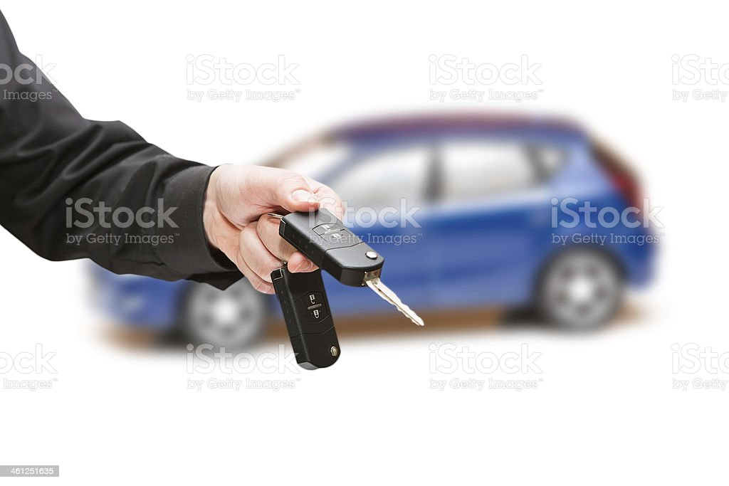 Keys to the car. White background. stock photo