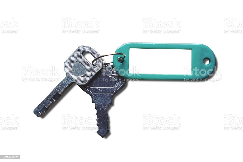 Keys with blank key fob, isolated on white background stock photo