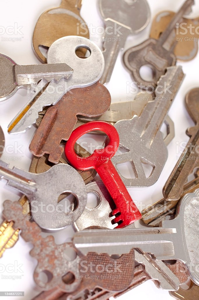 Keys with one painted red royalty-free stock photo
