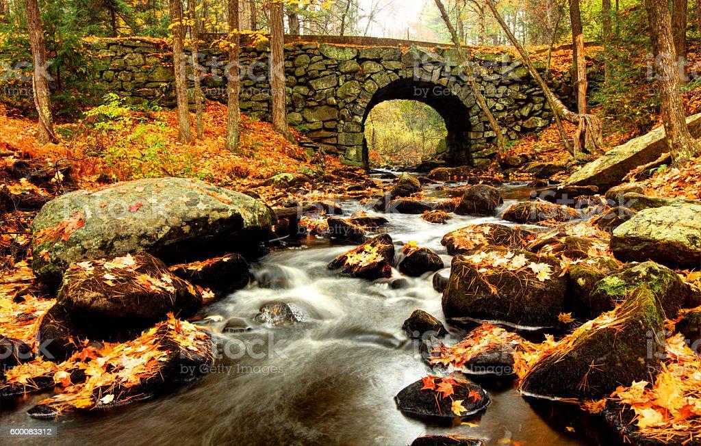 Keystone Bridge is a stone-arched bridge in the Quabbin Region stock photo
