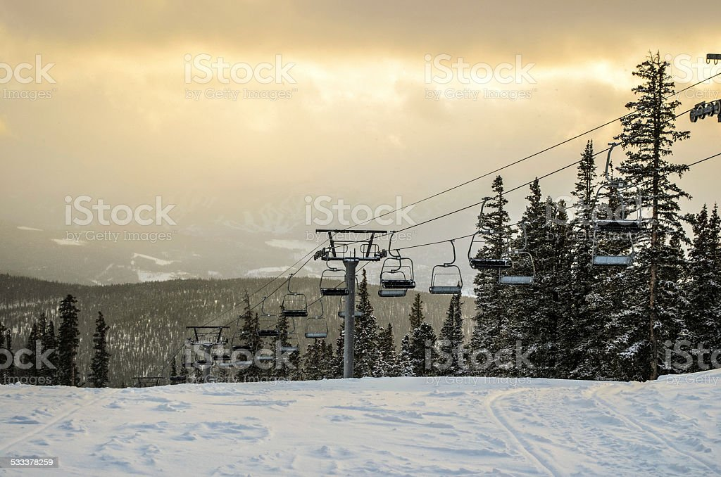 Keystone Chairlift in the Evening stock photo