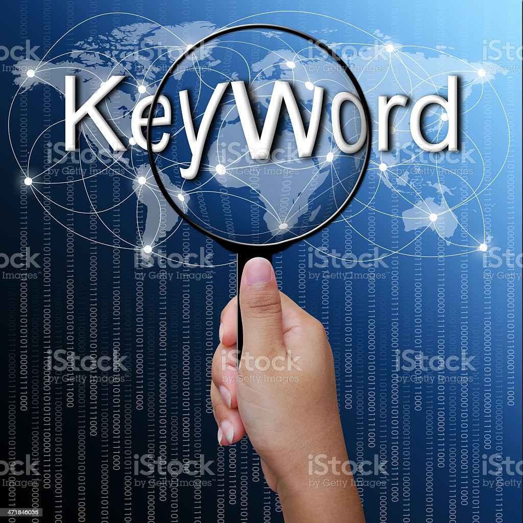 Keyword, word in Magnifying glass,network background royalty-free stock photo