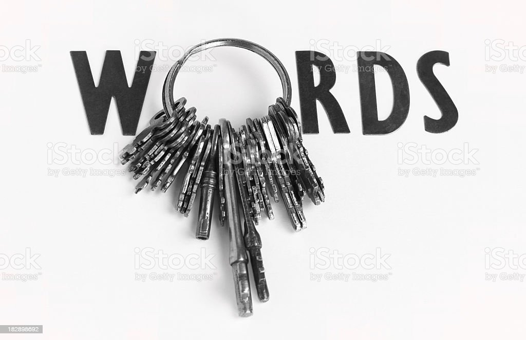 Keywords concept with ring of keys making letter O stock photo