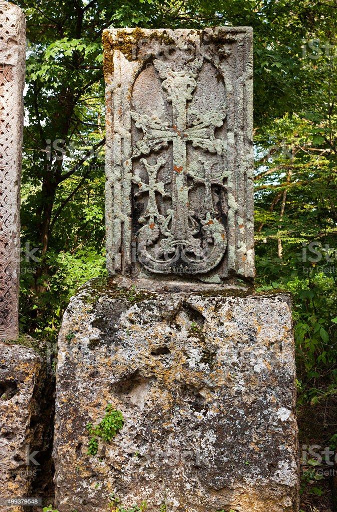 Khachkar or cross-stone stock photo