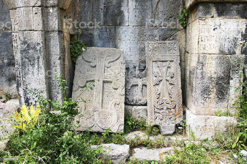 Khachkars or cross-stones stock photo