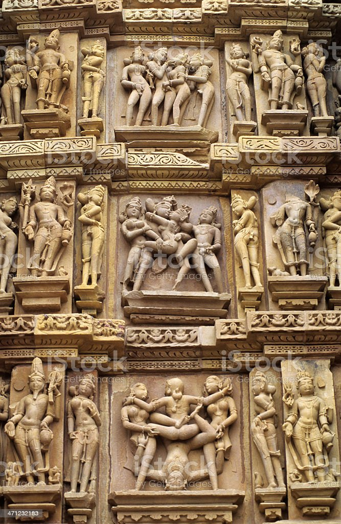 Khajuraho erotic sculptures stock photo